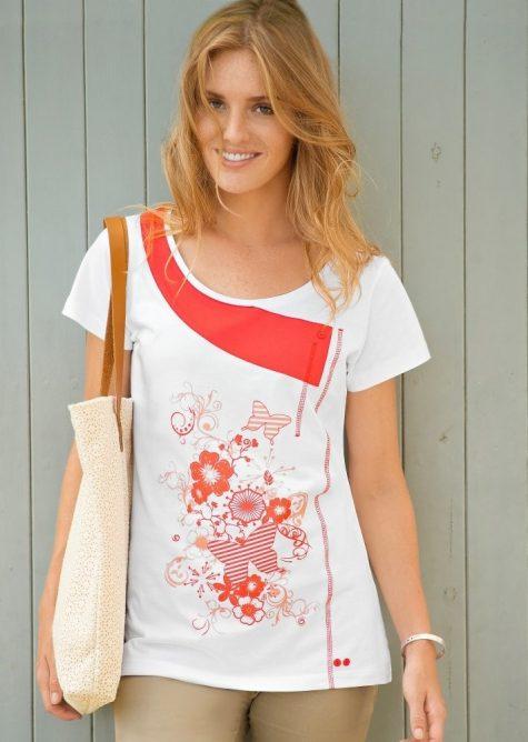 eca98b1c072d Originálne tričko s krátkymi rukávmi biela koralová 46 48