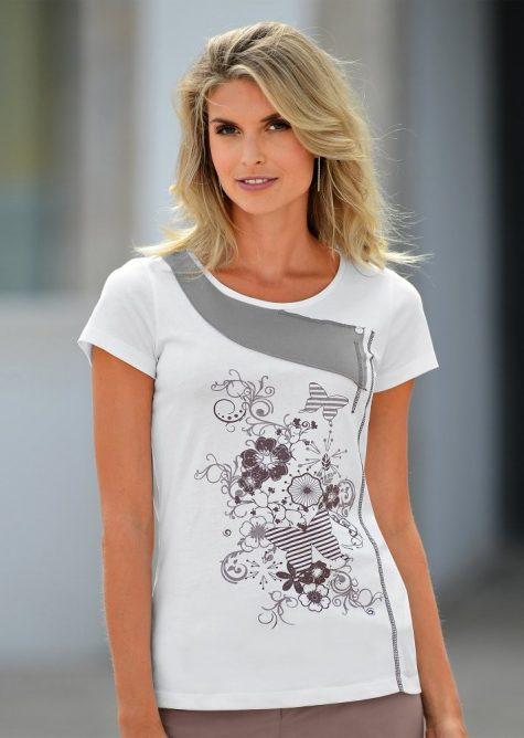 cdda9e3ad33a Originálne tričko s krátkymi rukávmi biela hnedosivá 46 48