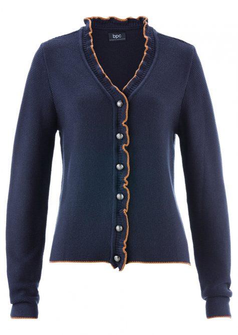 Krojový pletený sveter s volánikom