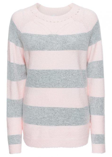 Pletený pulóver s pásikmi