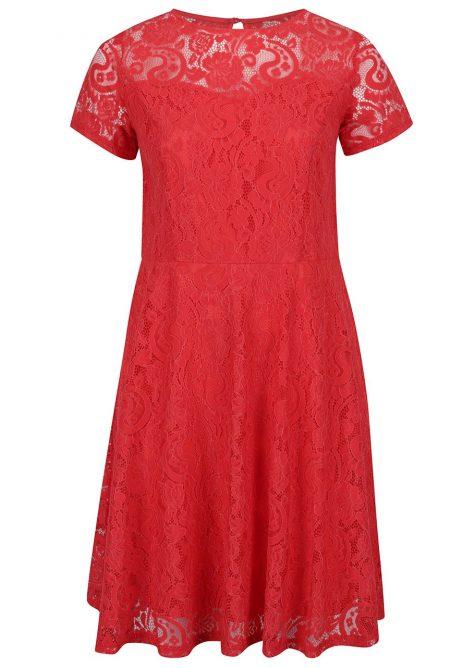 ŽENY | Šaty | spoločenské šaty - Červené čipkované šaty s krátkym rukávom Dorothy Perkins Curve