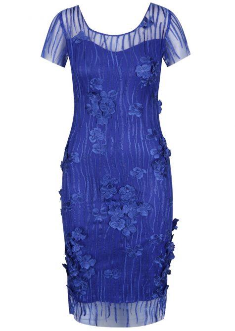 ŽENY | Šaty | spoločenské šaty - Modré kvetinové šaty Miss Grey Fathia