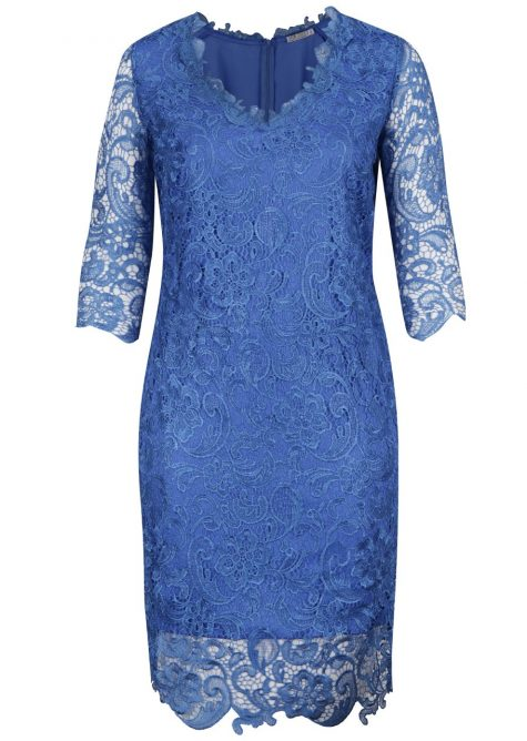 ŽENY | Šaty | spoločenské šaty - Modré plus size čipkované šaty Miss Grey Arella