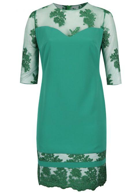 ŽENY | Šaty | spoločenské šaty - Zelené plus size šaty s 3/4 rukávmi Miss Grey Gratiela
