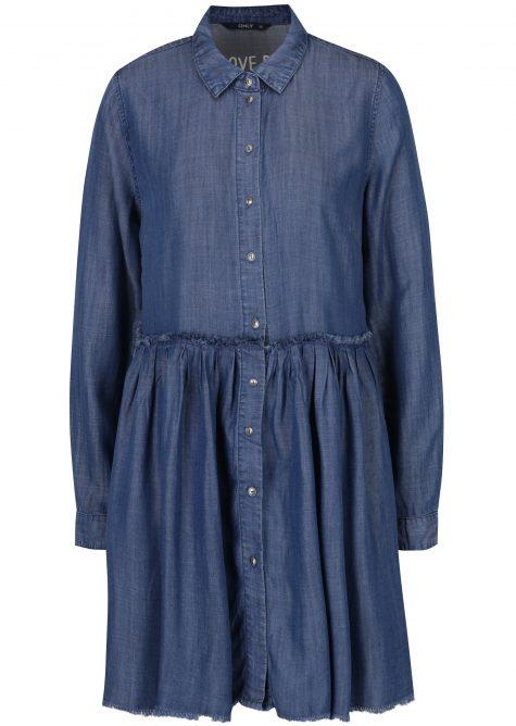 ŽENY | Šaty | šaty na denné nosenie - Tmavomodré rifľové košeľové šaty ONLY Tess