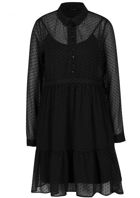 ŽENY | Šaty | šaty na denné nosenie - Čierne bodkované košeľové šaty s volánom VERO MODA Flocks