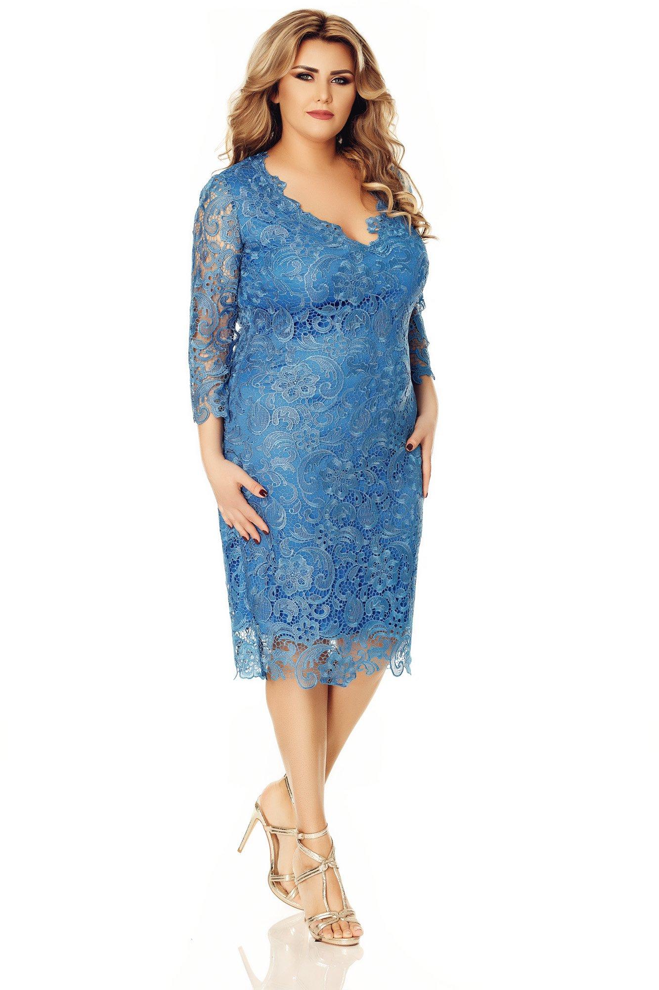 7ab2e09c258b Modré plus size čipkované šaty Miss Grey Arella