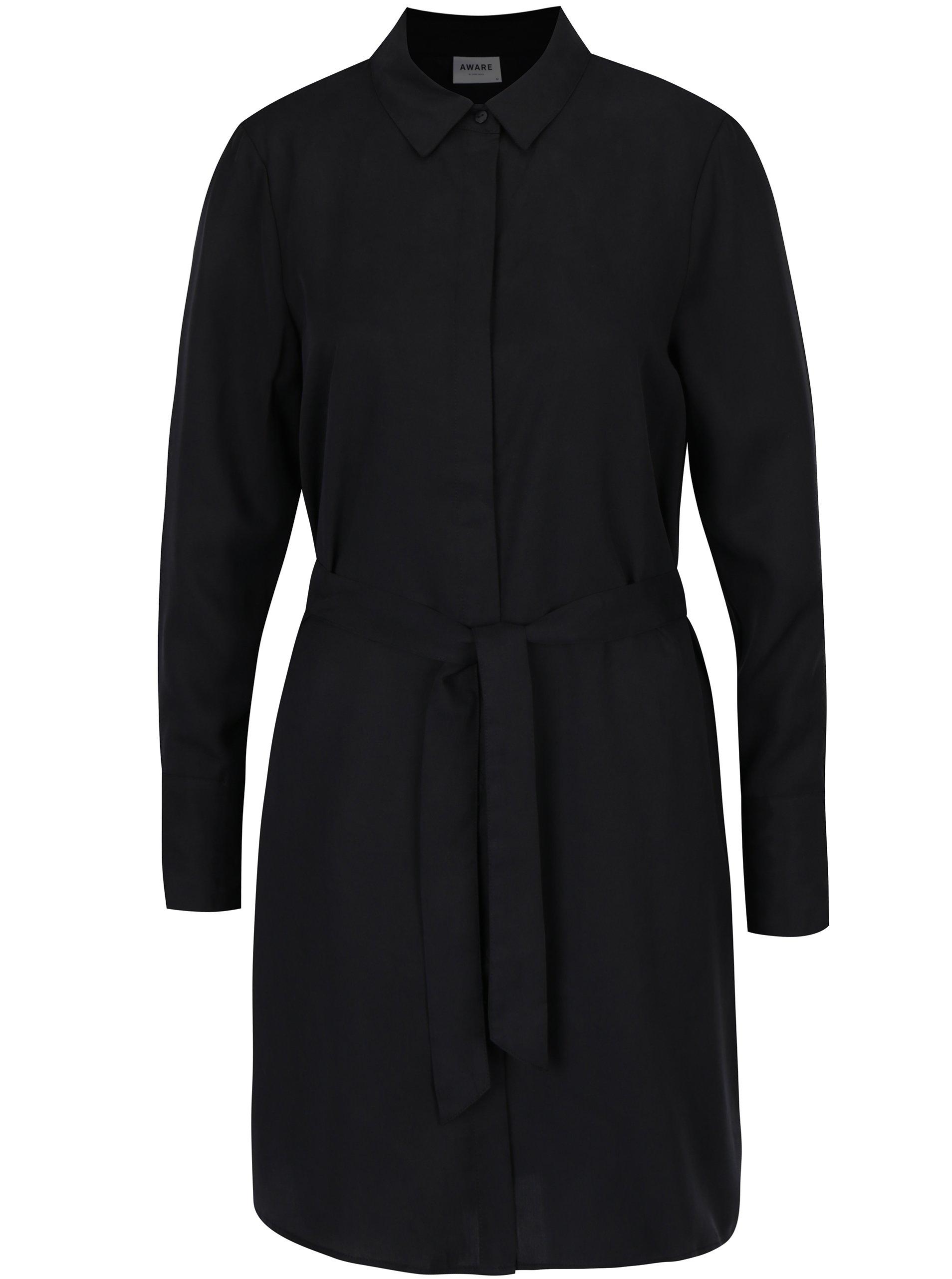 35f724b2e ŽENY | Šaty | šaty na denné nosenie - Čierne košeľové šaty VERO MODA Amy