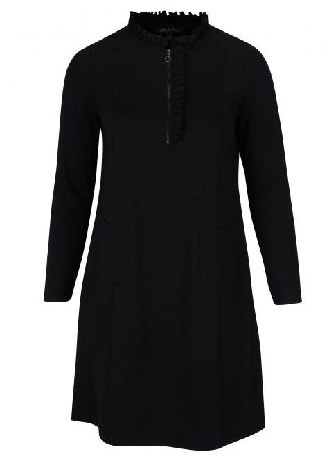 ŽENY | Šaty | šaty na denné nosenie - Čierne mikinové šaty s vreckami Ulla Popken