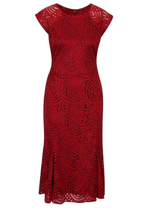 ŽENY | Šaty | spoločenské šaty - Červené čipkové puzdrové midišaty M&Co Penci