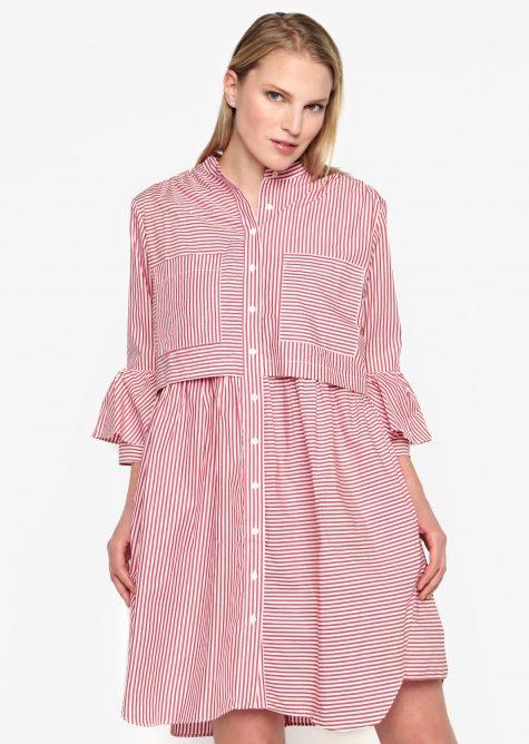 ŽENY   Šaty   šaty na denné nosenie - Krémovo–červené košeľové oversize šaty French Connection Summer
