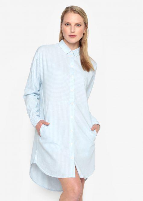 ŽENY | Šaty | šaty na denné nosenie - Svetlomodré pruhované košeľové šaty Selected Femme Lillian