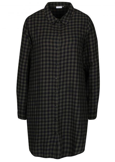 ŽENY | Šaty | šaty na denné nosenie - Zeleno-čierne kockované košeľové šaty Jacqueline de Yong Ally
