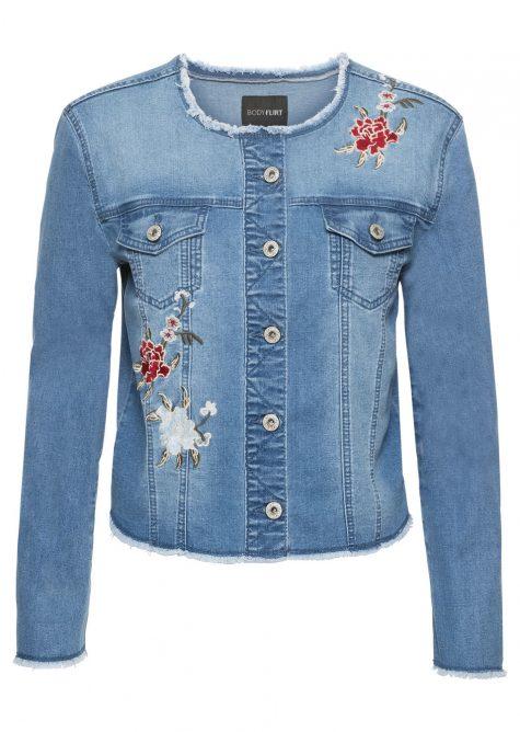Džínsová bunda s kvetovanou výšivkou