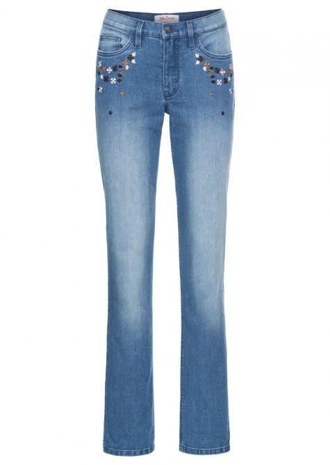 Strečové džínsy Rovné  Strečové nohavice pre moletky - lepšie sa prispôsobia postave.