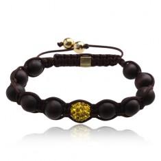 Šperky eshop - Hnedý Shamballa náramok