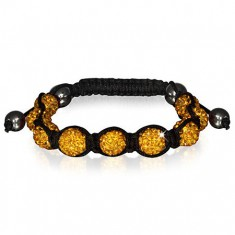 Šperky eshop - Náramok Shamballa - trblietavé korálky zlatej farby