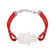Šperky eshop - Náramok z chirurgickej ocele a červených šnúrok