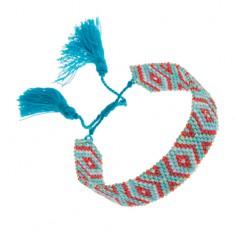 Šperky eshop - Náramok z korálok tyrkysovej a červenej farby