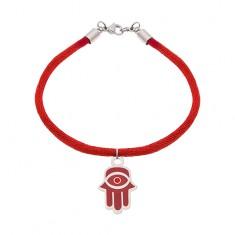 Šperky eshop - Náramok z ocele 316L a červenej šnúrky
