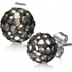 Šperky eshop - Oceľové náušnice Shamballa - čierne guličky