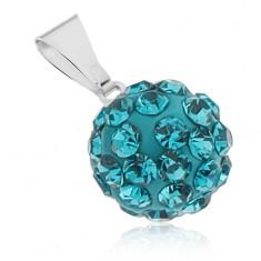 Šperky eshop - Oceľový prívesok - Shamballa gulička so zirkónmi tyrkysovej farby