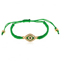 Šperky eshop - Pletený náramok tmavozelenej farby