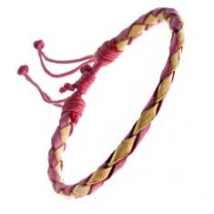 Šperky eshop - Pletený náramok z kože - červeno-žltý pletenec