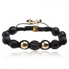 Šperky eshop - Shamballa náramok - matné čierne korálky