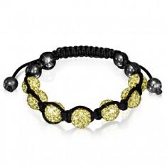 Šperky eshop - Shamballa náramok so žltými zirkónovými korálkami  V5.13