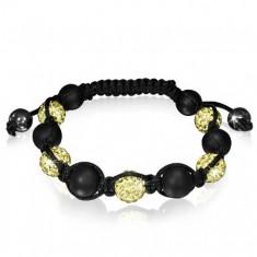 Šperky eshop - Shamballa náramok - trblietavé žlté guličky striedané s hladkými korálkami O14.8