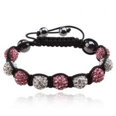 Šperky eshop - Shamballa náramok zirkónové guličky čírej a svetloružovej farby Q18.03