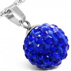 Šperky eshop - Shamballa prívesok z ocele - tmavomodrá guľôčka