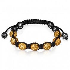 Šperky eshop - Shamballa vibračný náramok - zirkónové korálky zlatej farby a hematitové guličky O13.9