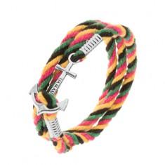 Šperky eshop - Štvorfarebný pletený náramok na obtočenie okolo ruky