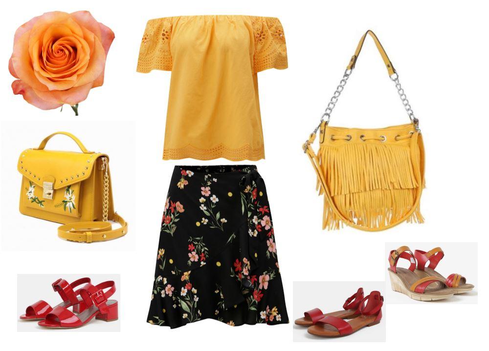 letná sukňa pre moletky, žlté tričko pre moeltky, žlté kabelky pre moletky