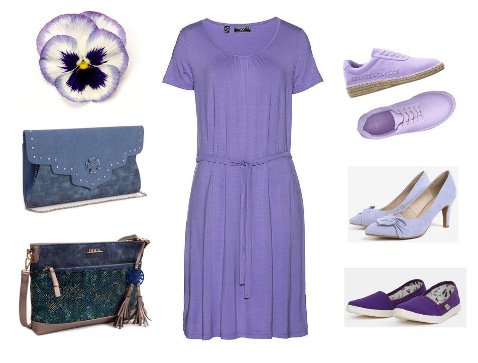 letná sukňa pre moletky, smaragdová blúzka pre moletky, modra kabelka, tmavomodra kabelka, letné šaty pre moletky, fialové úpletové šaty pre moletky