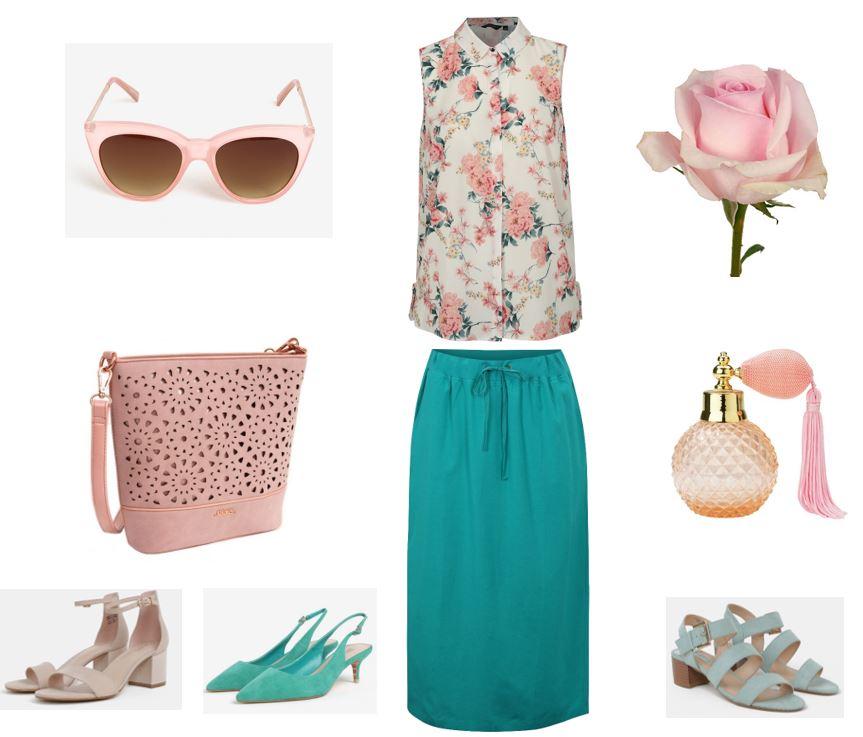 letná sukňa pre moletky, letná blúzka pre moletky, ružový outfit pre plnoštíhle, letné oblečenie pre moletky