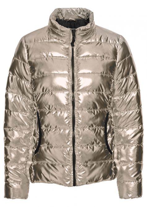Prešívaná bunda v metalickom vzhľade