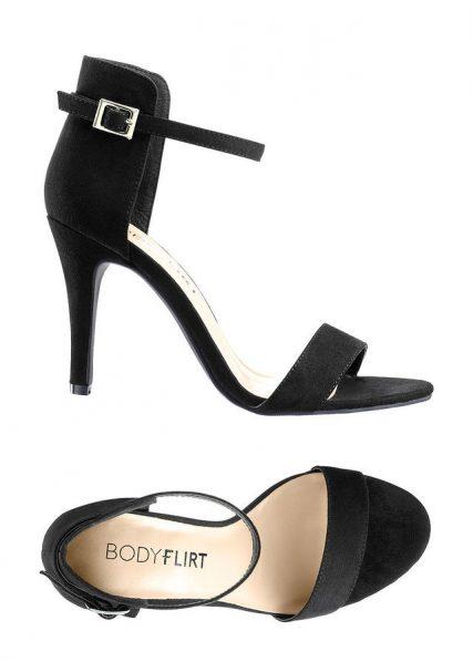čierne sandále na vysokom opätku, čierne sadnále s otvorenou špicou