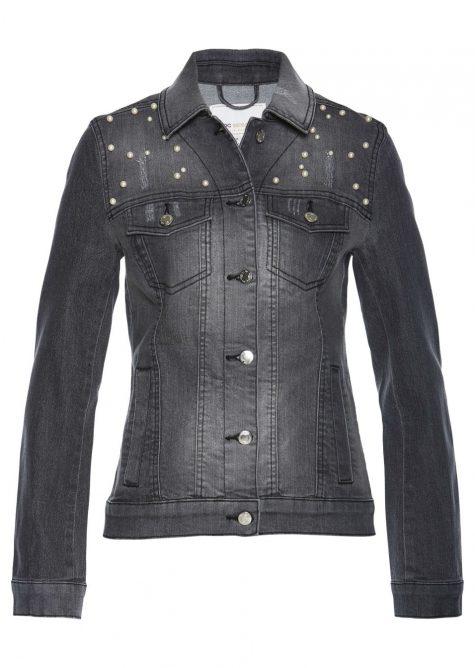 Džínsová bunda s perličkami