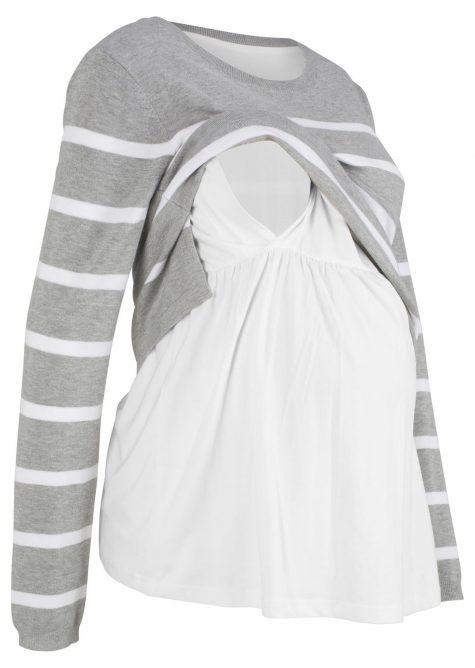 Tehotenský pulóver s funkciou na kojenie