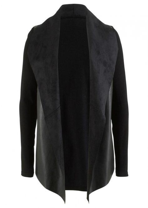 Pletený sveter s koženkovými detailmi - dizajn Maite Kelly