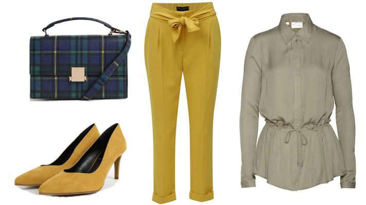 zlty outfit pre moletku, zelene formalne nohavice pre moteltku, biznis oblecenie pre moletky