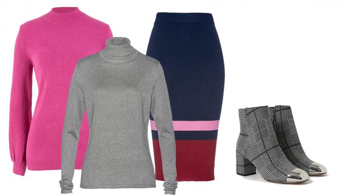 farebné oblečenie pre moletky, trendy oblečenie pre plnoštíhle, outfity pre moletky, outfit, rolák, roláky pre moletky