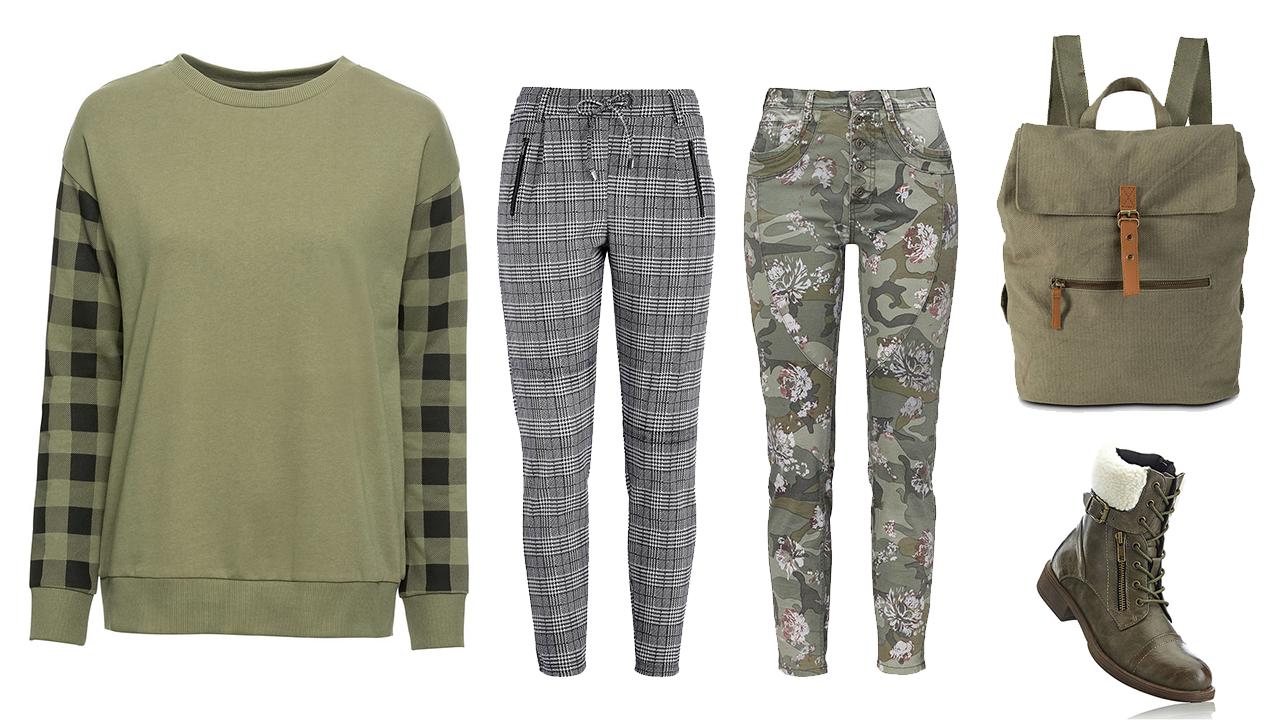 khaki zelená mikina pre moletky, oblečenie pre moletky, outfit pre moletky, moda pre moletky, moda pre plnostihle