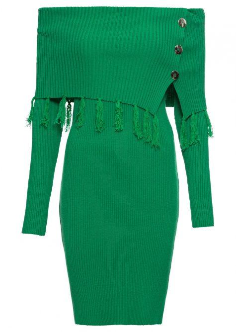 Pletené šaty s výstrihom Carmen
