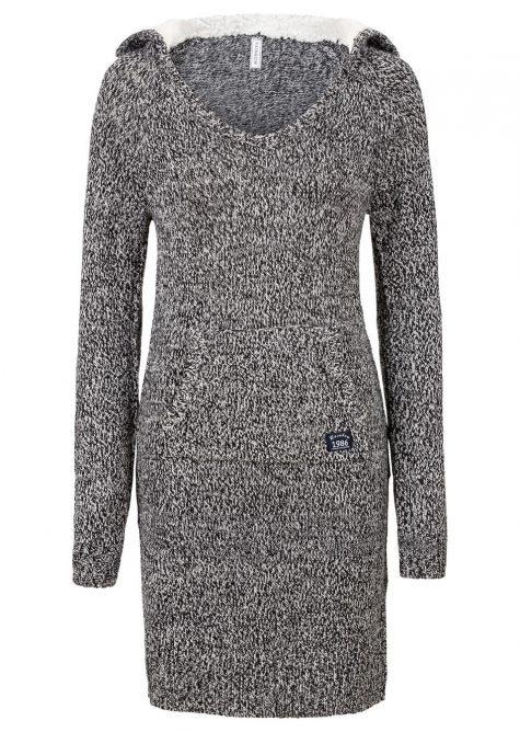 Pletené šaty s podšívanou kapucňou