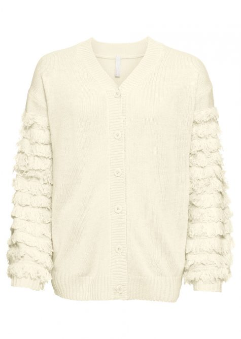 Pletený sveter so strapcami na rukávoch
