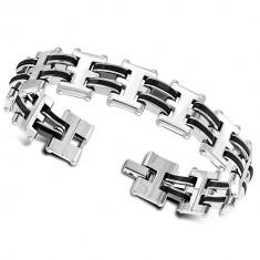 Šperky eshop - Dvojfarebný náramok z chirurgickej ocele - lesklé geometrické články